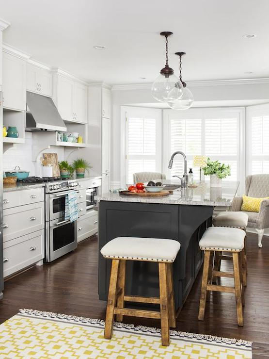 Dark Gray Kitchen Island Transitional Kitchen