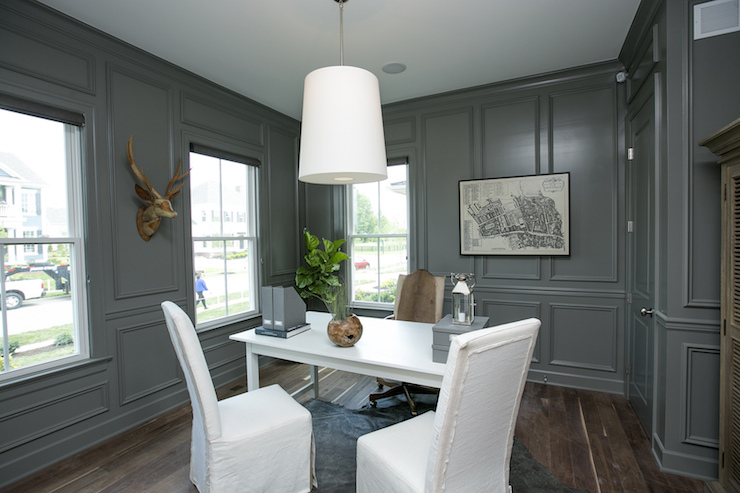 Gray Paneled Office Transitional Den Library Office Bia
