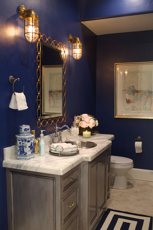 Navy paint colors transitional bathroom clark and for Blue and gold bathroom sets