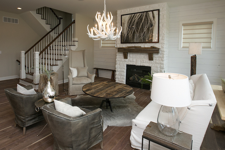 White Brick Fireplace Transitional living room BIA Parade of Homes
