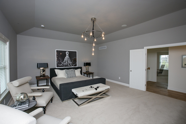 Silver Gray Bedroom With Tray Ceiling And Blade Ceiling