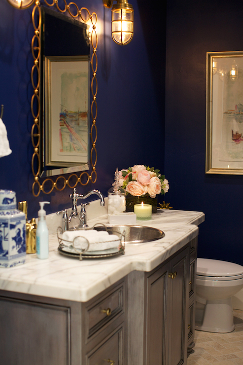 Navy Blue Paint Colors Transitional bathroom Clark and