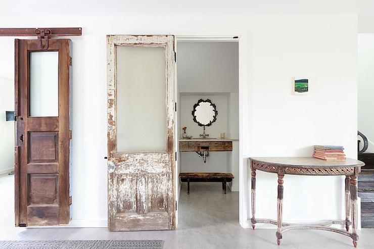 Distressed Sliding Door Eclectic Bathroom One Kind