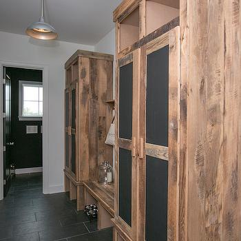 Long Mudroom With Gray Barn Doors Cottage Laundry Room