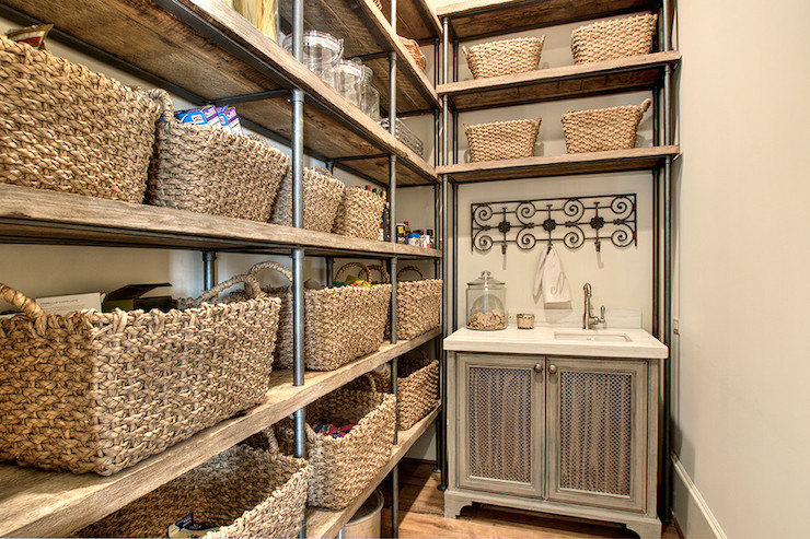 View Full Size. French Kitchen Pantry Features Reclaimed Wood Shelving ...