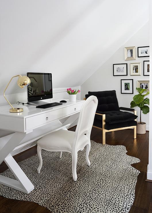 White Lacquer Desk Contemporary Den Library Office