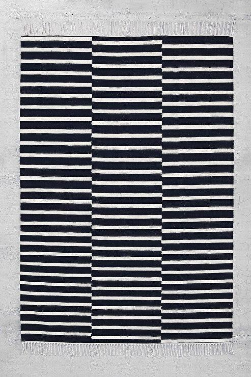4040 Locust Offset Black And White Stripe Rug