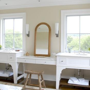 Bathroom Vanity Under Window black makeup vanity under windows - transitional - bathroom