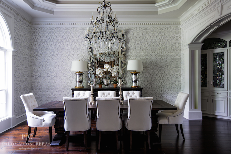 Gray damask wallpaper traditional dining room paloma for Dining room wallpaper