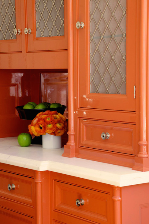 Orange Cabinets Contemporary Kitchen