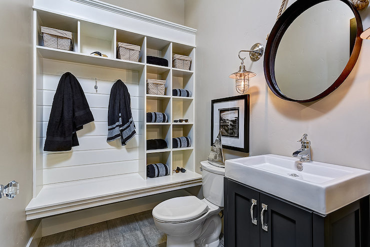 Powder room mudroom cottage bathroom clark and co homes for Bathroom mudroom combo