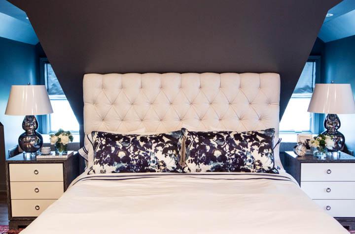 Bed Under Sloped Ceiling Transitional Bedroom