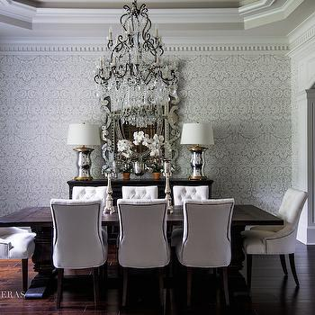 Gray Damask Wallpaper, Traditional, dining room, Paloma Contreras