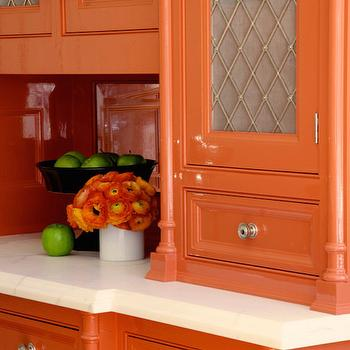 Orange Cabinets Contemporary Kitchen Lucy Interior