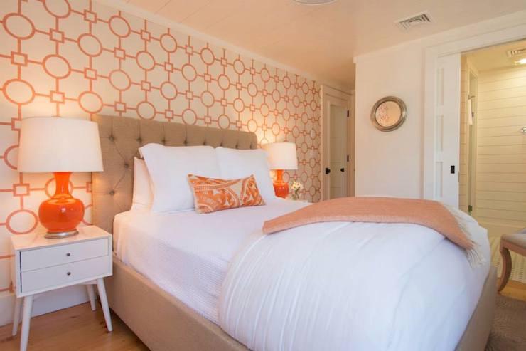Orange Tufted Headboard Contemporary Bedroom Carey