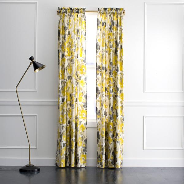 Gray And Yellow Floral Curtains - Products, bookmarks, design ...