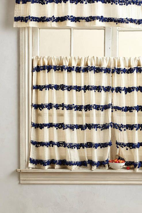 Stripes Ivory and Blue Cafe Curtain