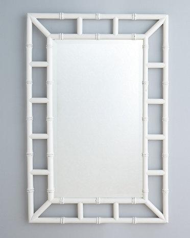 Faux Bamboo White Mirror