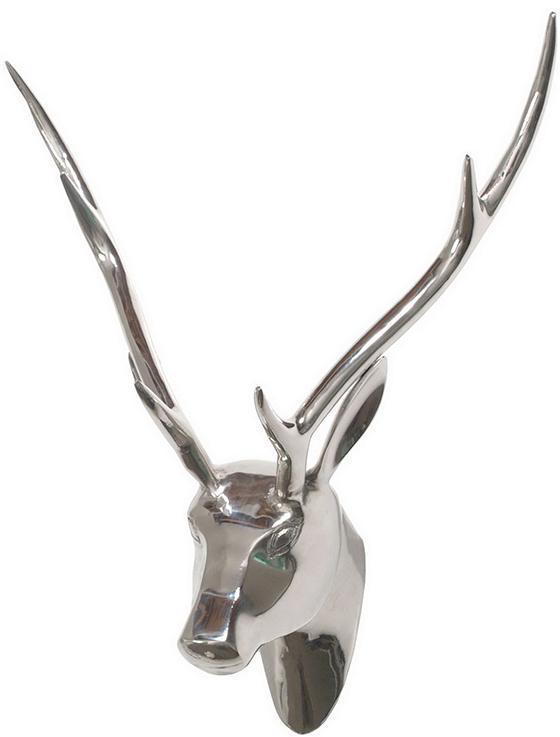 Deer Head Silver Wall Sculpture