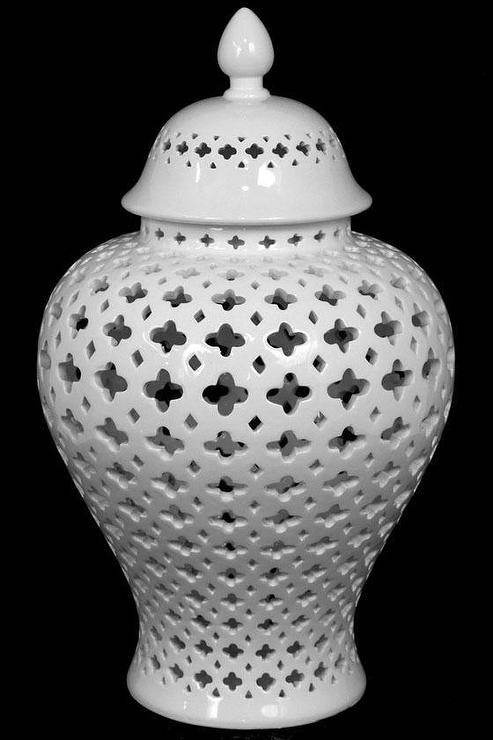 Carthage White Pierced Lantern