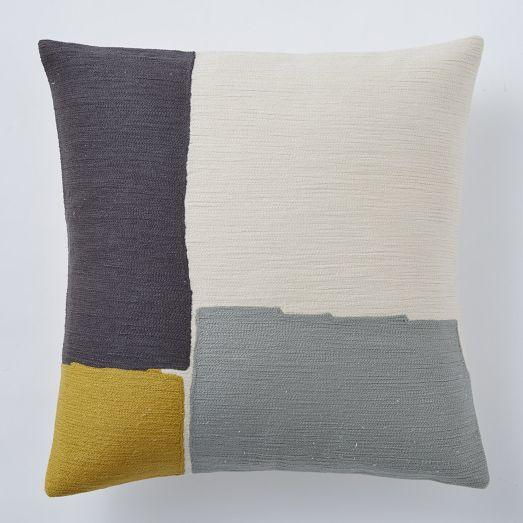 Steven Alan Abstract Crewel Grey and Ivory and Yellow Pillow Cover