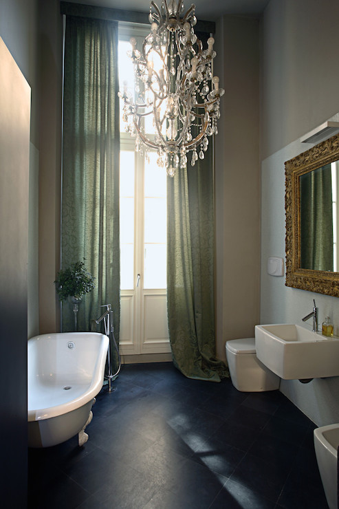 View Full Size Moody Bathroom With Tall French Doors Dressed In Sage Green Curtains