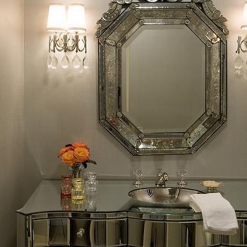 Mirrored Sink Vanity, Transitional, bathroom, Lonny Magazine