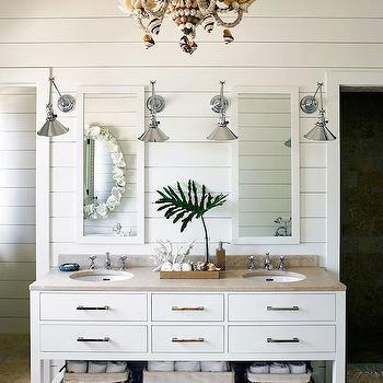 Seashell Chandelier, Cottage, bathroom, Lonny Magazine