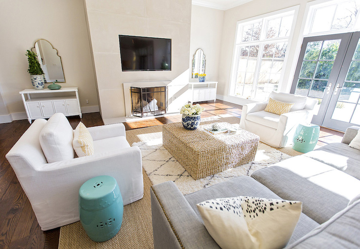 Seagrass Ottoman Coffee Table Transitional Living Room
