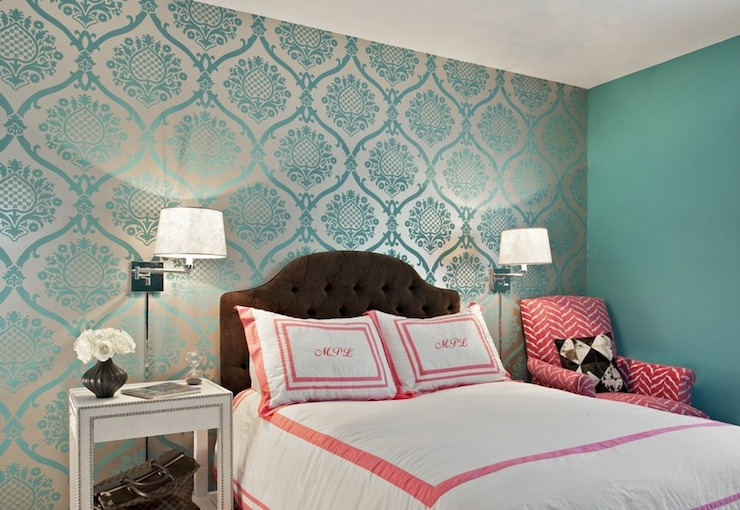 Teal damask wallpaper transitional bedroom marks for Wallpaper accent wall ideas living room