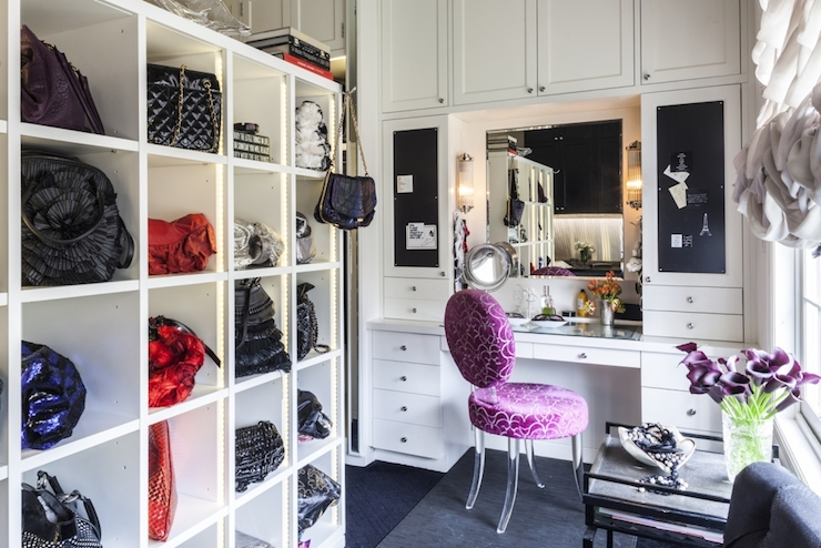 Amazing Contemporary Dressing Room Features Ikea Expedit Shelving Units Used As  Cubbies Used To Store Designer Handbags Situated Across From Built In  Dressing Table ...