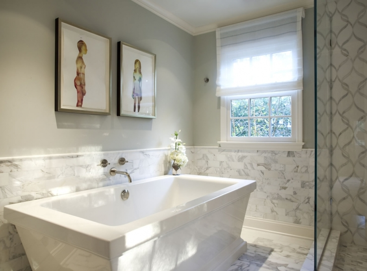 View Full Size Gorgeous Bathroom Features Top Half Of Walls Painted Gray