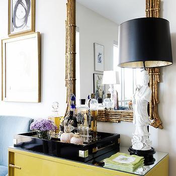 Yellow Cabinet, Eclectic, living room, Hallie Henley Design