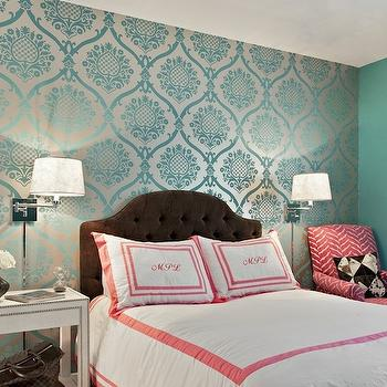 Teal Damask Wallpaper, Transitional, bedroom, Marks & Frantz
