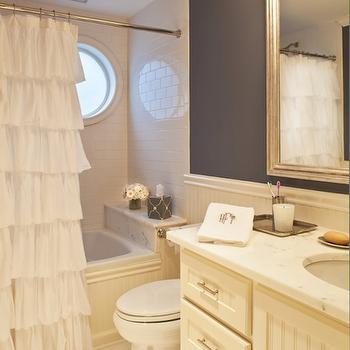 Ruffled Shower Curtain, Transitional, bathroom, Marks & Frantz