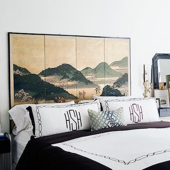 Folding Screen Headboard, Eclectic, bedroom, Hallie Henley Design