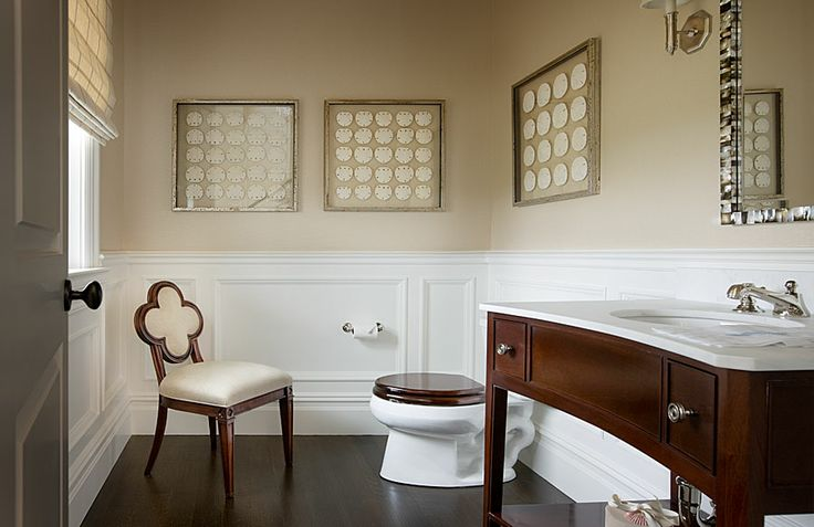 Wainscoting Powder Room Cottage Bathroom Mark Hampton Llc