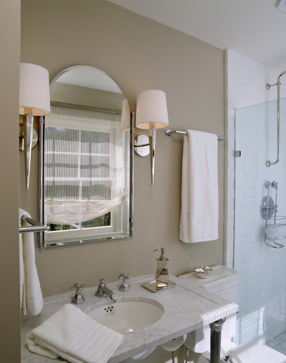 White and taupe bathrooms transitional bathroom for Taupe bathroom ideas