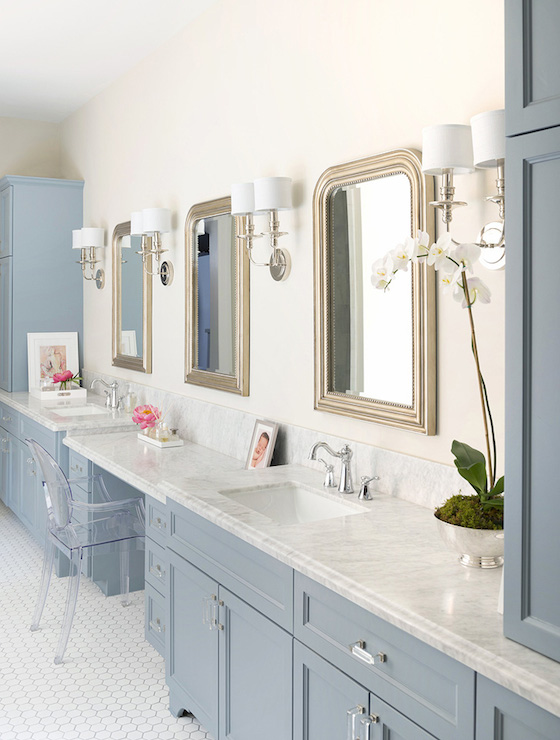 Blue Vanity - Contemporary - bathroom - Hallie Henley Design