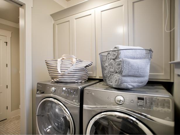 Cabinets Over Washer Dryer Transitional Laundry Room Hgtv