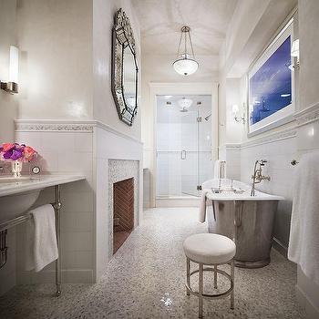 Fireplace in Bathroom, Transitional, bathroom, Mark Hampton LLC