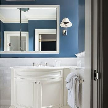 Curved Sink Vanity & Half Tiled Bathroom Walls Design Ideas