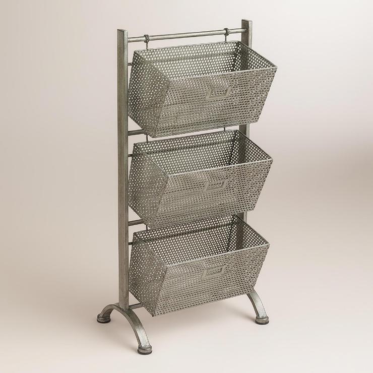 High Quality Zinc Jeremy 3 Basket Silver Storage