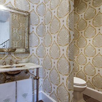 Leaf Print Wallpaper, Transitional, bathroom, Tatum Custom Homes