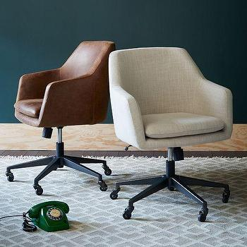Helvetica Leather Office Chair, West Elm