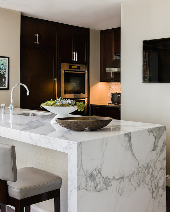 Calacatta Marble Kitchen: Marble Waterfall Island