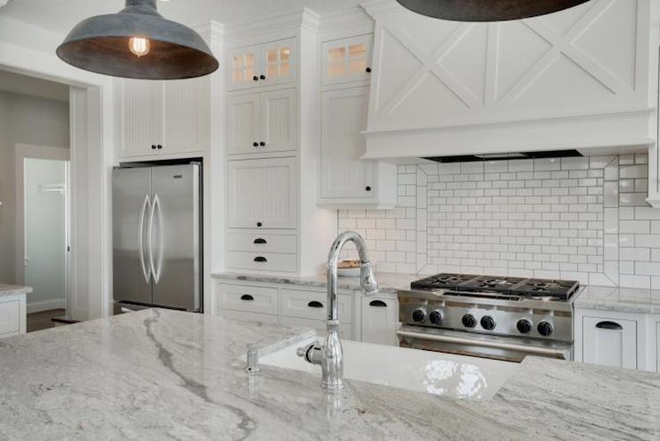 Super white granite counters transitional kitchen - White kitchen marble ...