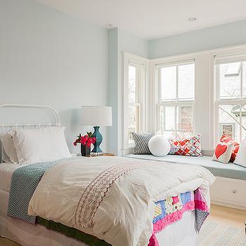 Blue Wall Paint, Transitional, bedroom, Benjamin Moore Sweet Bluette, Terrat Elms Interior Design