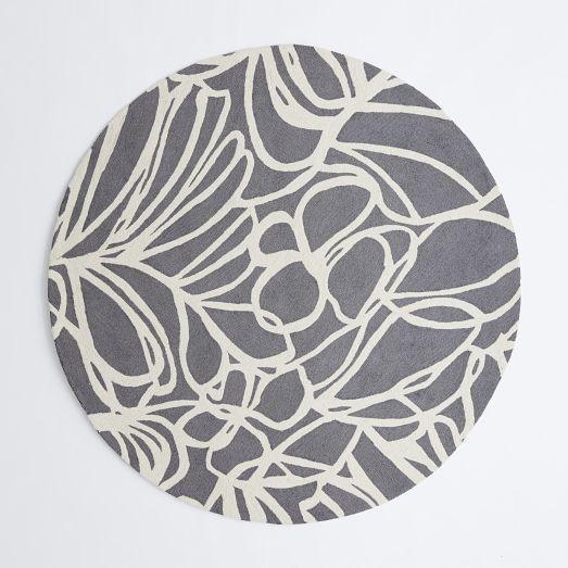 Sketch Round Grey Wool Rug