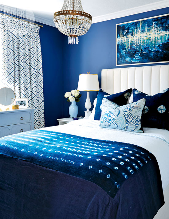 Indigo blue bedrooms contemporary bedroom style at home for Blue and white boys room